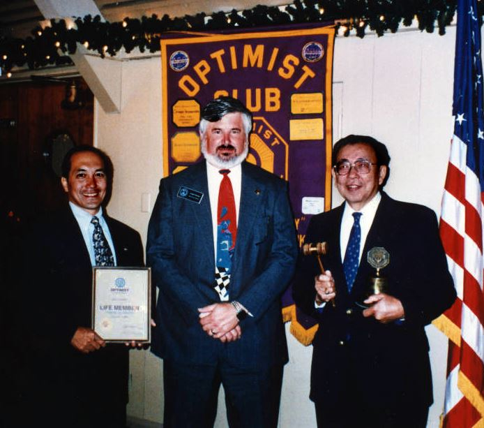 Don Tanaka, Optimist Governor Neal Pierce congratulate incoming President Frank Hirahara